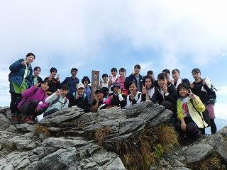 山頂にて フルメンバー20名+2名
